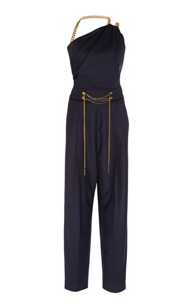 Oscar de la Renta One-Shoulder Embellished Wool-Blend Jumpsuit Size: 0 in navy