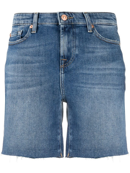 7 For All Mankind high rise denim shorts in blue