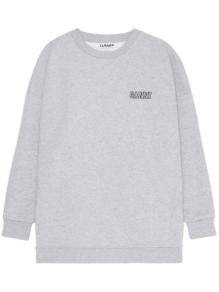 GANNI Software Isoli Printed Jersey Sweatshirt in grey