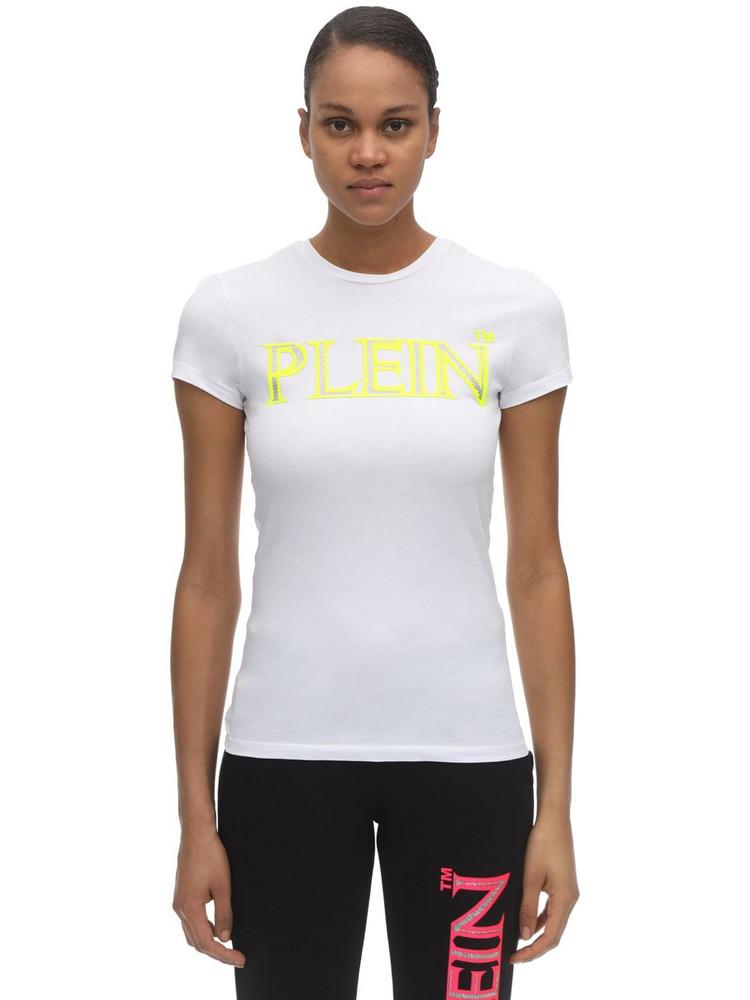 PHILIPP PLEIN Embellished Logo Print Jersey T-shirt in white / yellow