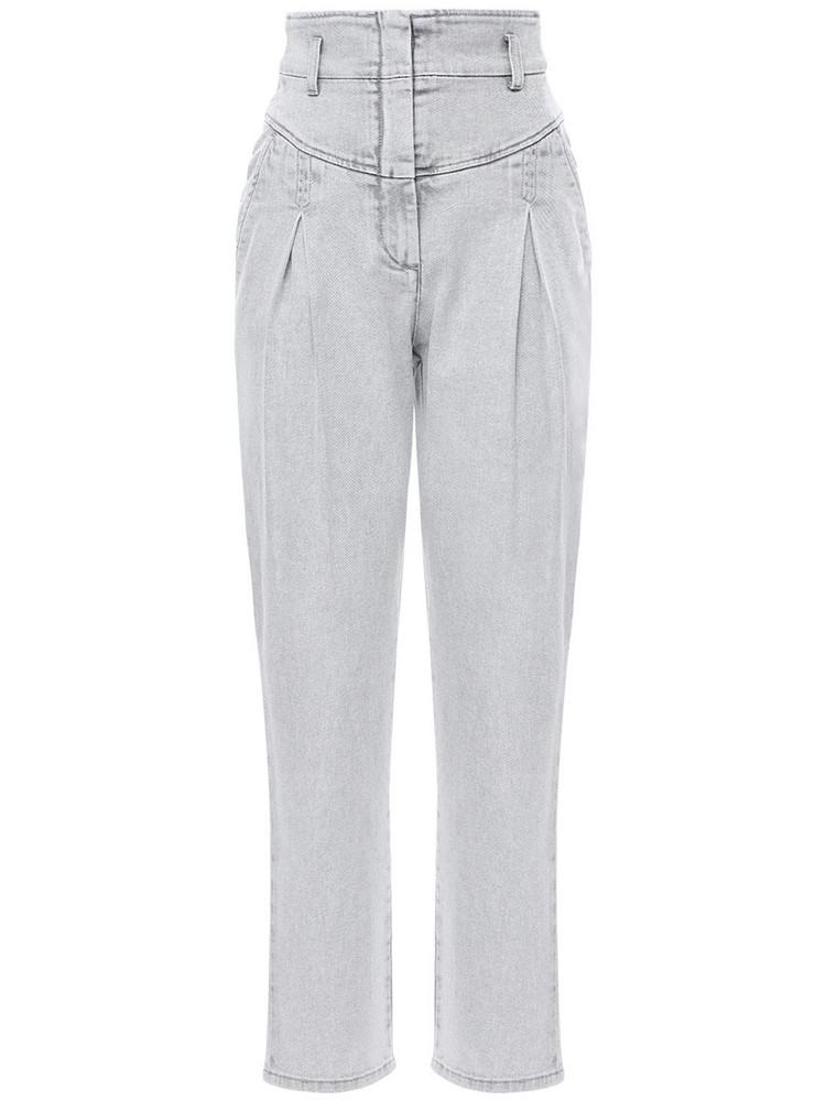 ALBERTA FERRETTI High Waist Stretch Cotton Denim Jeans in grey