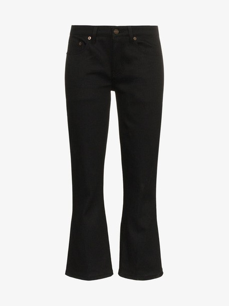 Saint Laurent Skinny Flared Cropped Jeans in black