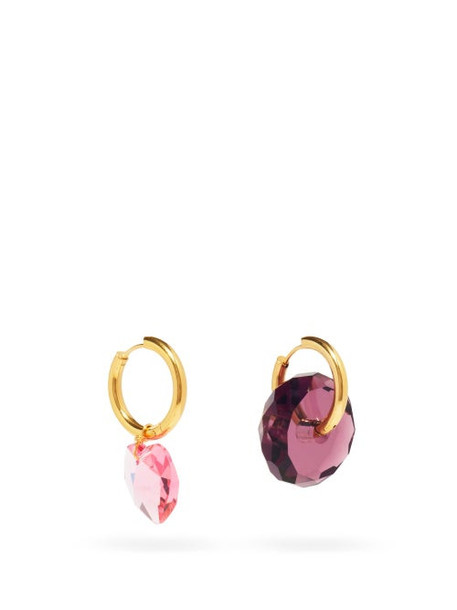 Timeless Pearly - Mismatched 24kt Gold-plated Crystal-charm Earrings - Womens - Pink Multi
