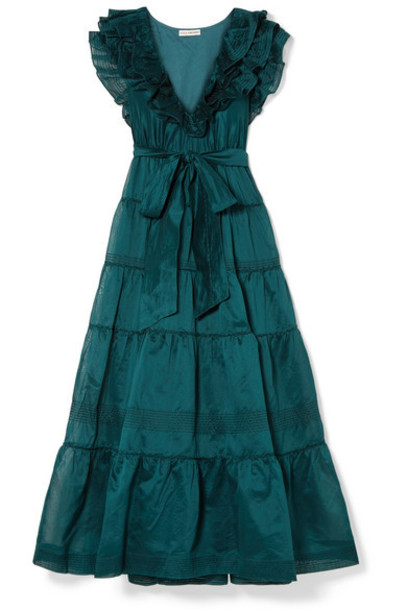 Ulla Johnson - Severine Ruffled Tiered Cotton And Silk-blend Maxi Dress - Petrol