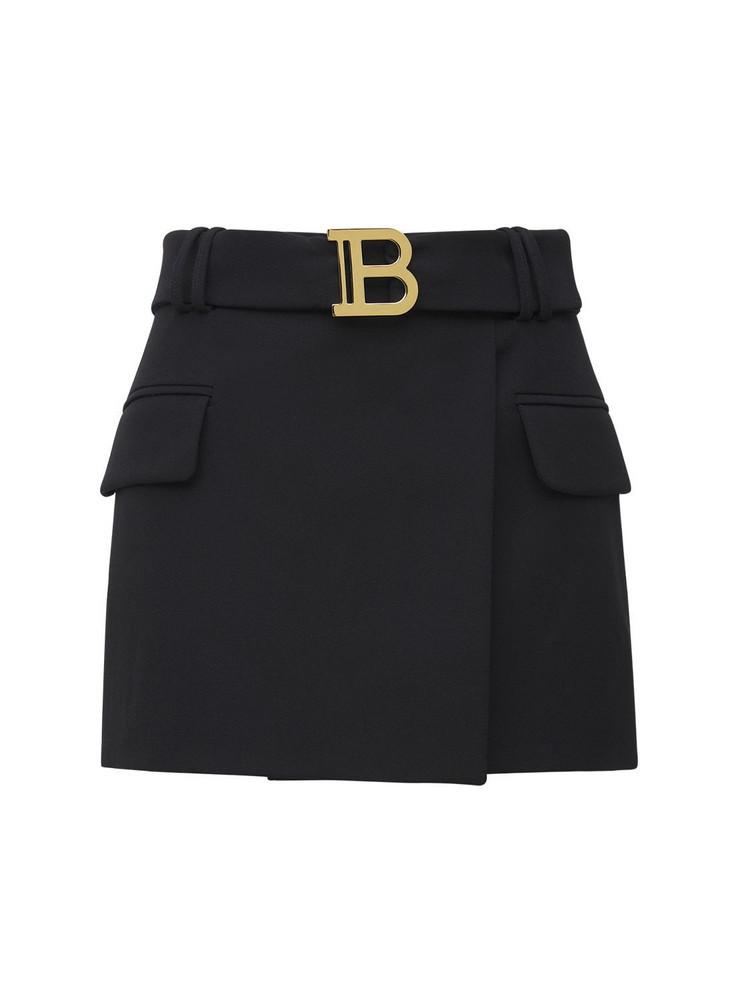 BALMAIN Low Rise Belted Logo Wool Mini Skirt in black