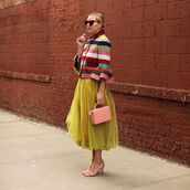 jacket,wool jacket,stripes,multicolor,mary katrantzou,tulle skirt,yellow skirt,midi skirt,handbag,pink bag,boxed bag,sandals
