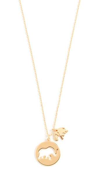 Kate Spade New York Mom Knows Best Elephant Pendant Necklace in gold / clear