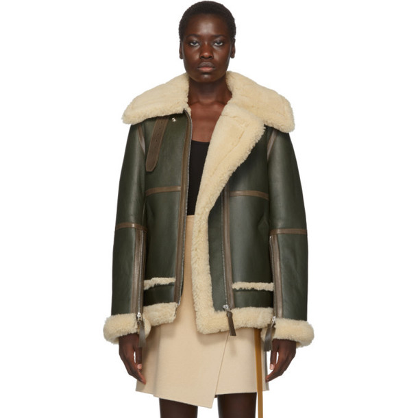 Acne Studios Green and White Long Raf Shearling Jacket