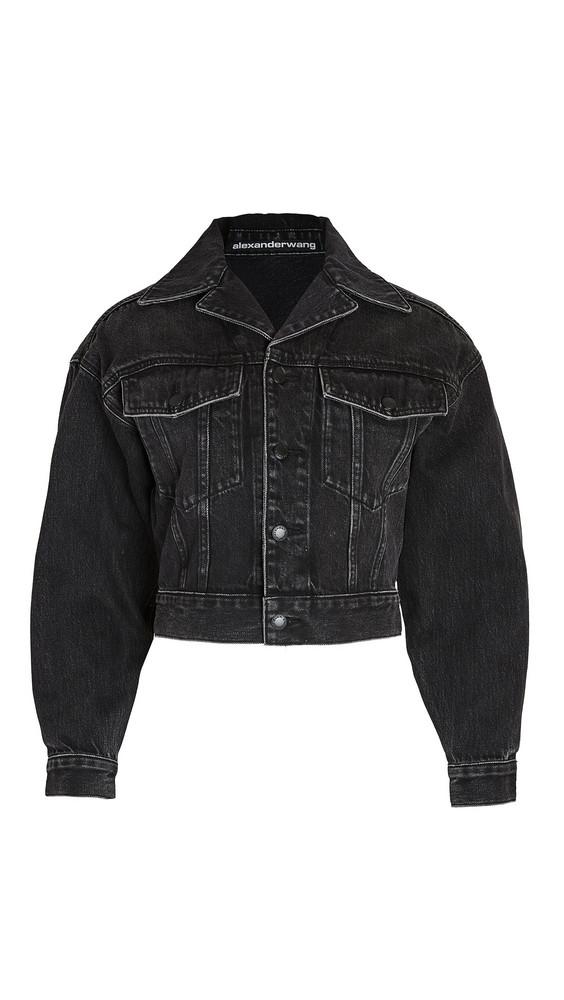Denim x Alexander Wang Lapel Collared Jacket in grey