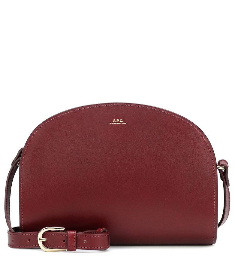 A.P.C. Demi-Lune leather shoulder bag in red