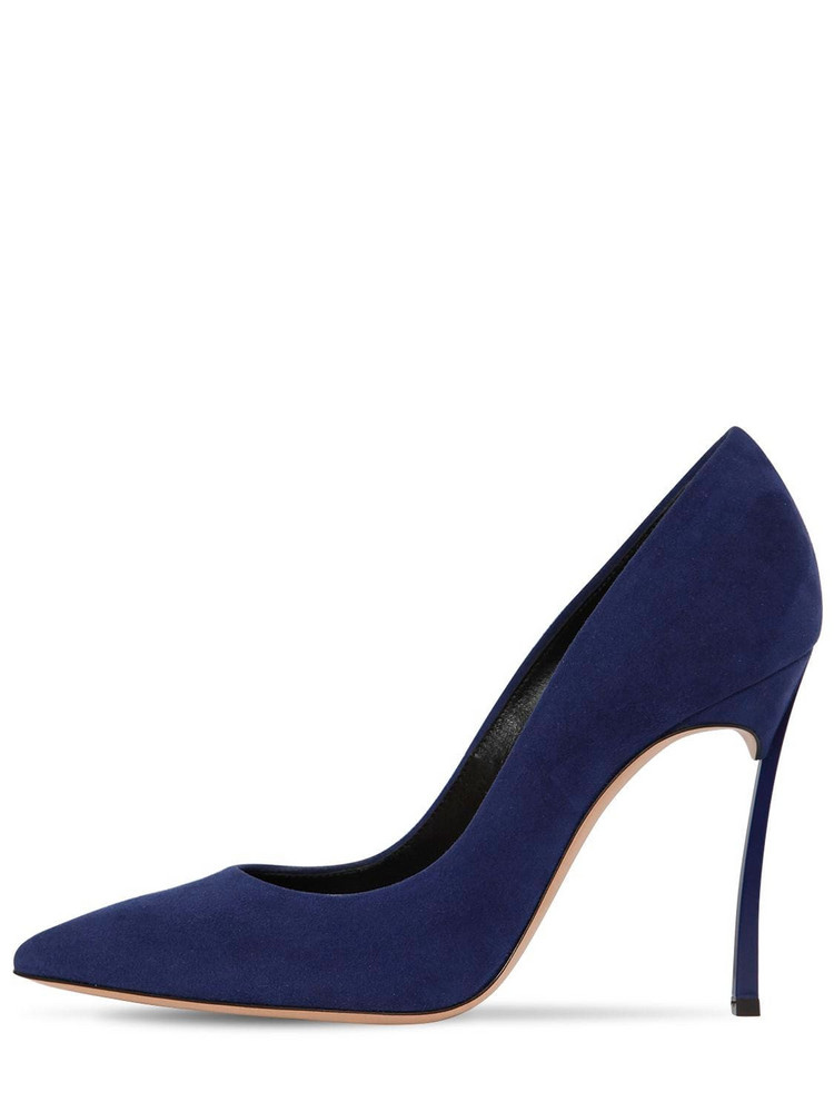 CASADEI 100mm Blade Suede Pumps in blue