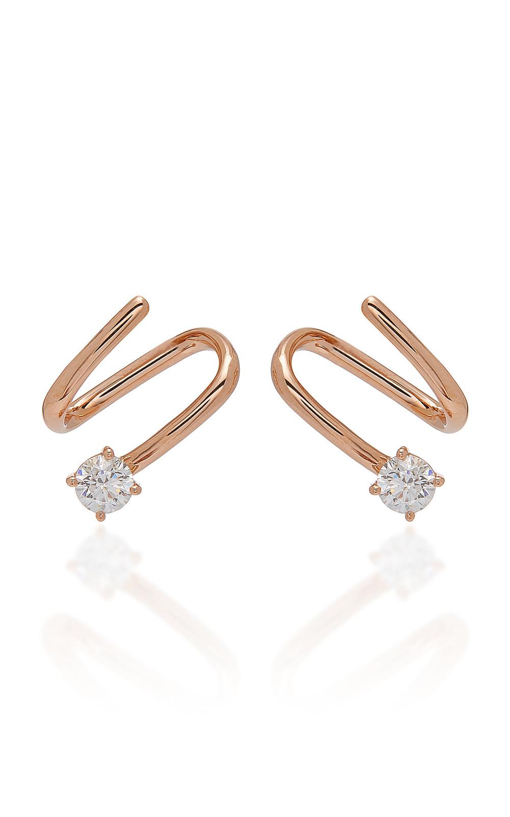 Anita Ko 18K Gold And Diamond Coil Earrings in pink