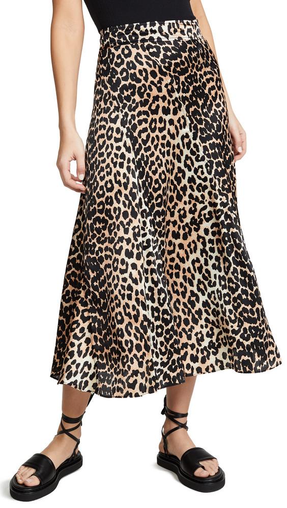 GANNI Silk Stretch Satin Skirt in leopard