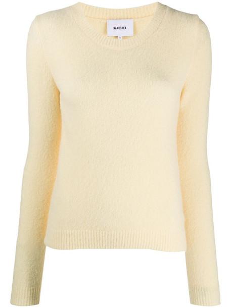 Nanushka long-sleeve fitted jumper in yellow