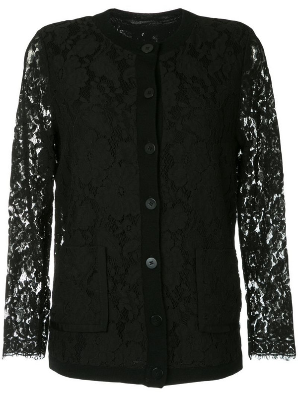 Onefifteen lace panel cardigan in black