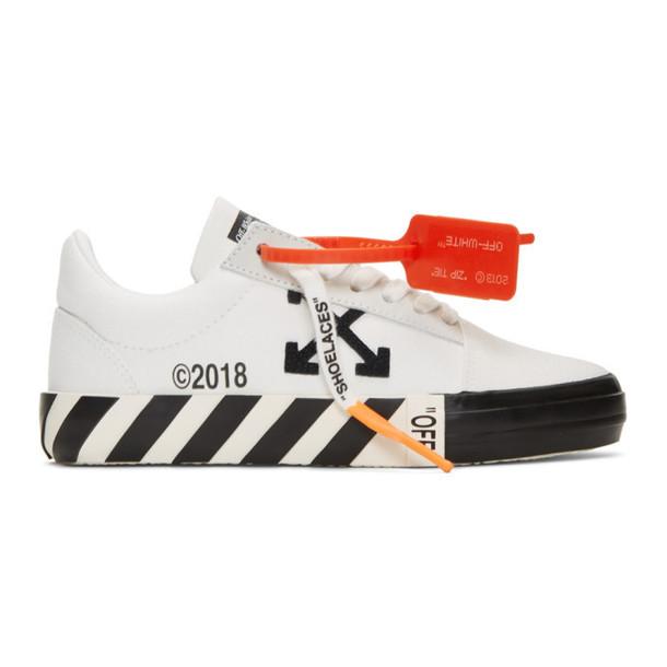 Off-White White Striped Vulcanized Sneakers