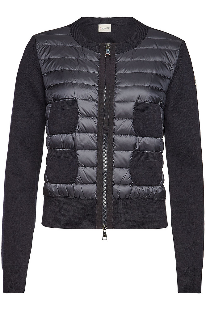 Moncler Down-Filled Quilted Front Cardigan  in blue
