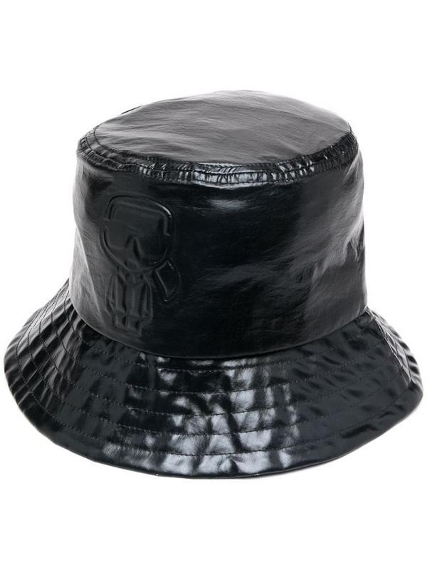 Karl Lagerfeld metallic-tone bucket hat in black