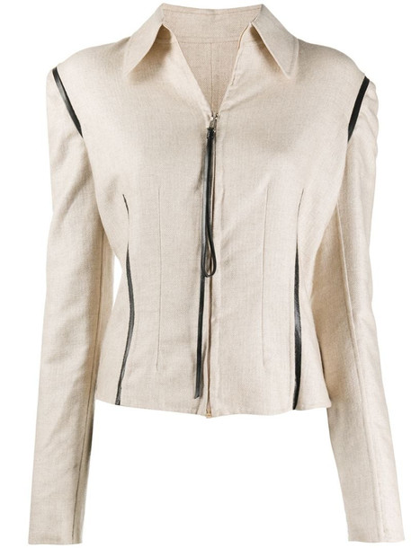 Gianfranco Ferré Pre-Owned 1990s zipped slim-fit jacket in neutrals