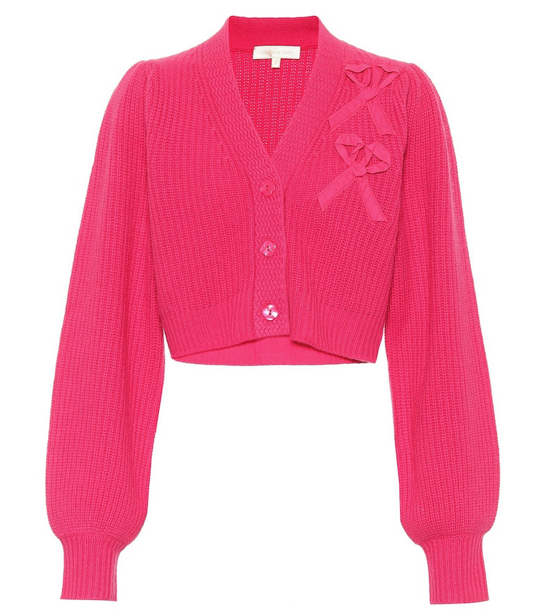LoveShackFancy Avignon cropped cashmere cardigan in pink