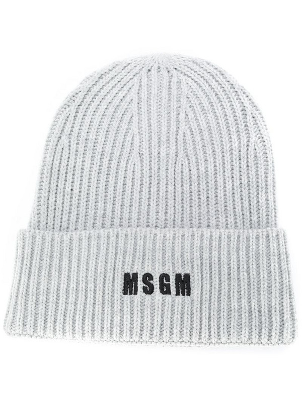 MSGM logo-embroidered ribbed knit beanie in grey