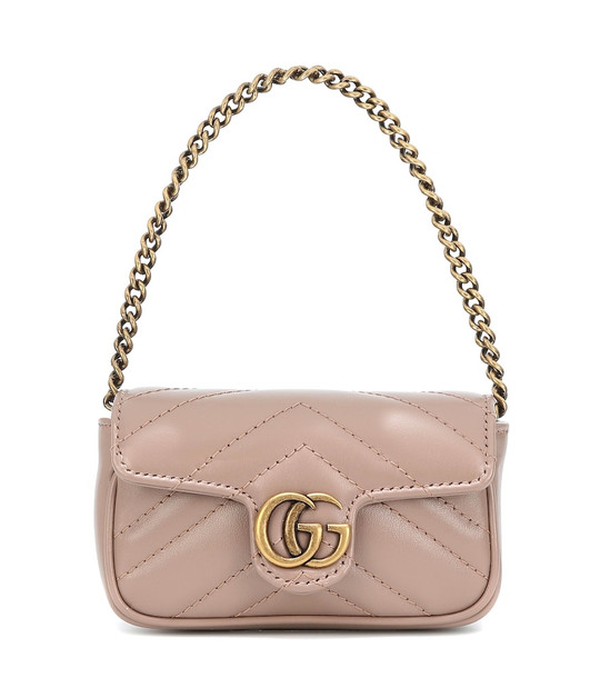 Gucci GG Marmont Micro leather shoulder bag in pink