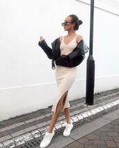 dress,midi dress,slit dress,white sneakers,black leather jacket