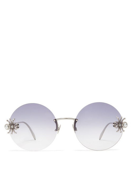 Alexander Mcqueen - Crystal & Faux Pearl Spider Round Metal Sunglasses - Womens - Black