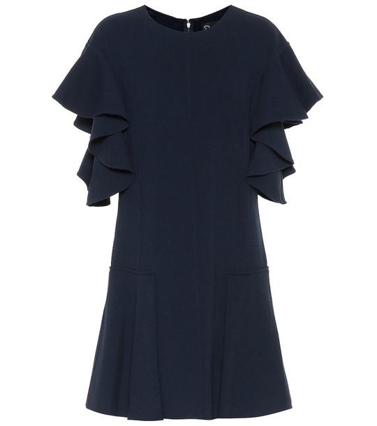 Oscar de la Renta Wool-blend minidress in blue