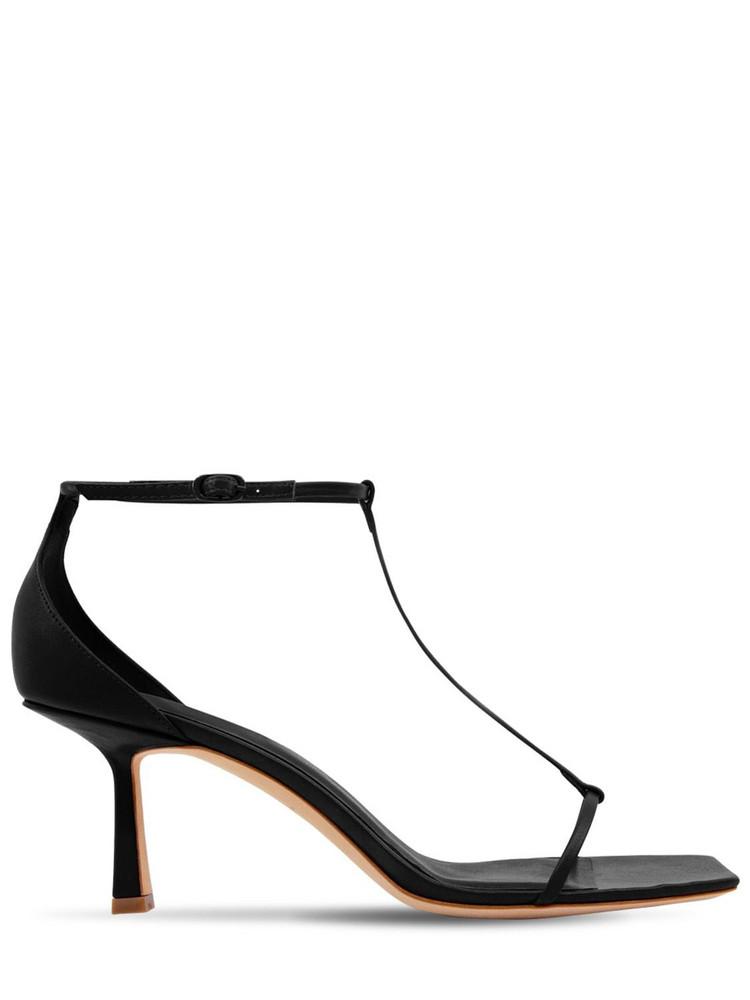STUDIO AMELIA 75mm Leather T-bar Sandals in black