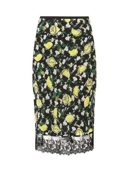 Diane Von Furstenberg - Chrissy Lemon Print Silk Knee Length Skirt - Womens - Black Multi