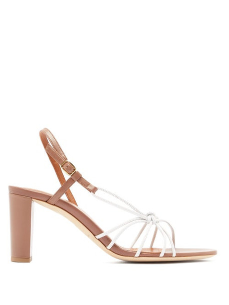 Malone Souliers - Binette Knotted Leather Slingback Sandals - Womens - Pink White