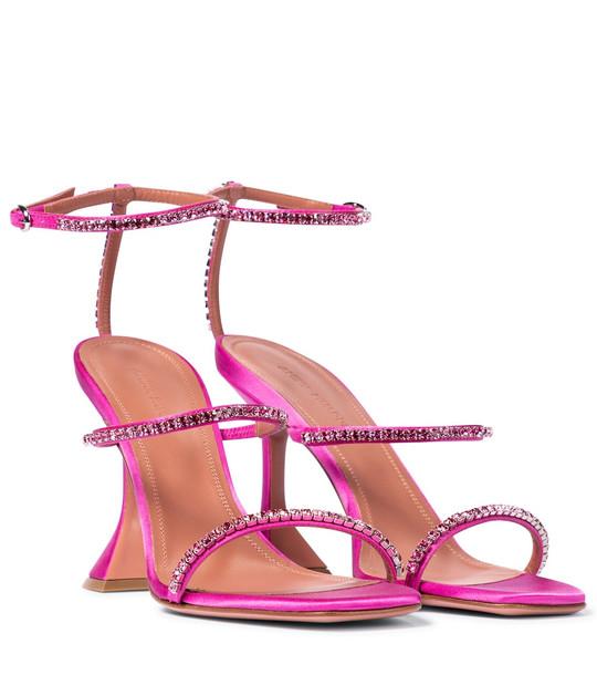 Amina Muaddi Gilda embellished satin sandals in pink