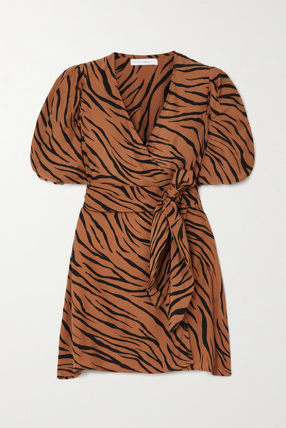Faithfull The Brand - Net Sustain Marissa Printed Crepe Wrap Mini Dress - Brown