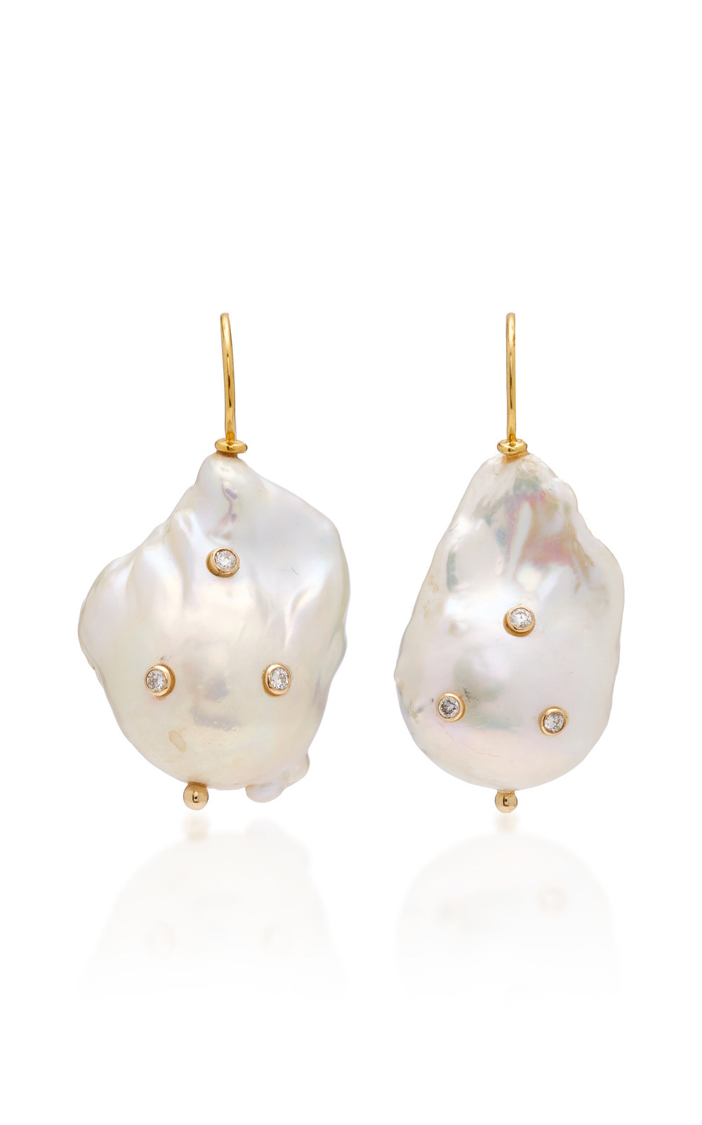 Ranjana Khan Pearl With Diamond Drop Earrings in white