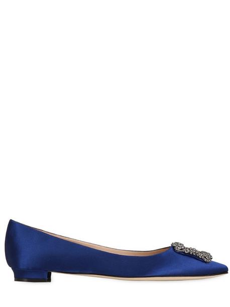 MANOLO BLAHNIK 10mm Hangisi Swarovski Silk Satin Flats in blue