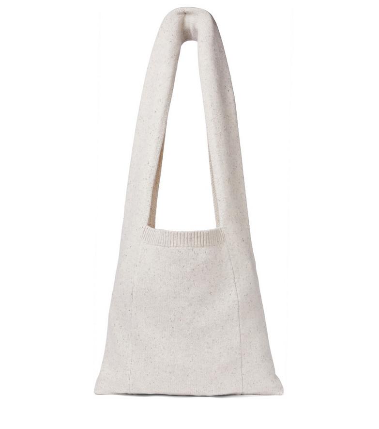 JOSEPH Stretch wool-blend shoulder bag in beige
