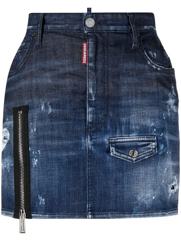 Dsquared2 denim zip mini skirt in blue