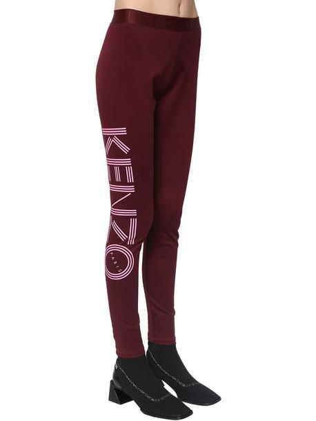 KENZO Logo Print Stretch Cotton Leggings