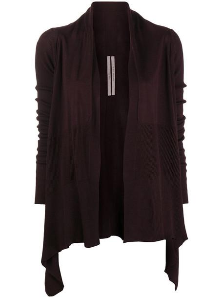 Rick Owens fine-knit asymmetric cardi-coat in red
