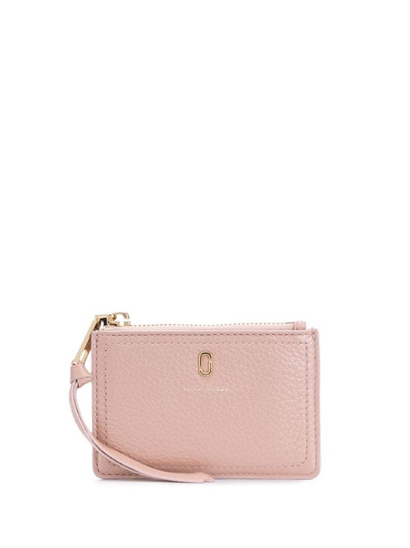 Marc Jacobs The Softshot pearlized top-zip wallet in pink