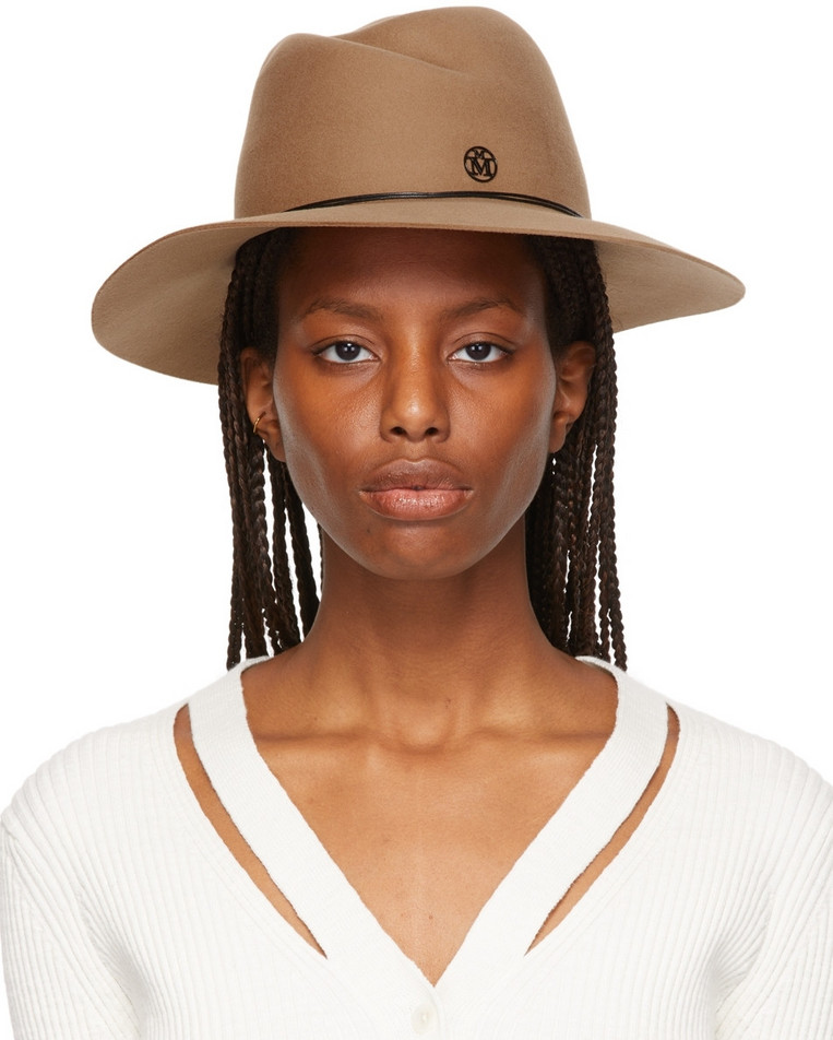 Maison Michel Brown Felted Wool Fedora in camel
