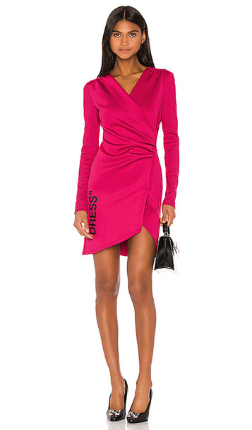 OFF-WHITE Side Opening Mini Dress in Fuchsia