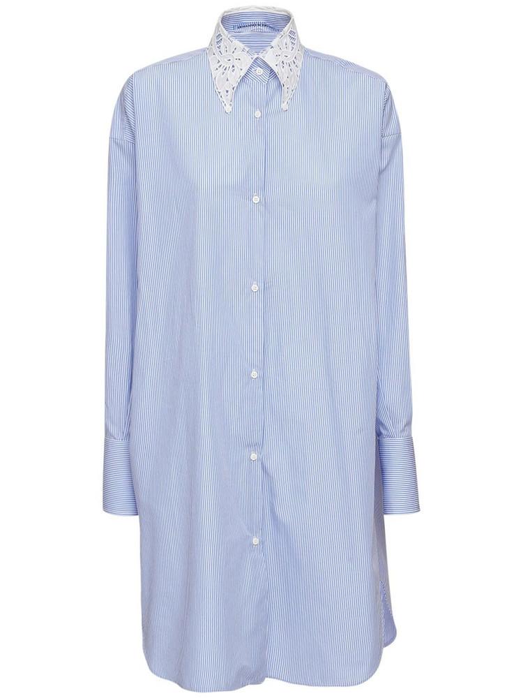 ERMANNO SCERVINO Striped Cotton Shirt Dress in blue / white