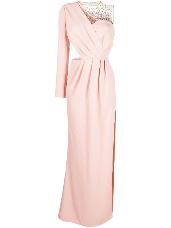 Elisabetta Franchi one-shoulder embellished evening gown in pink