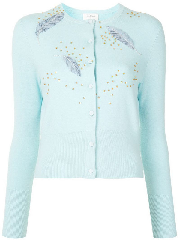 Onefifteen feather embroidered sequin detail cardigan in blue