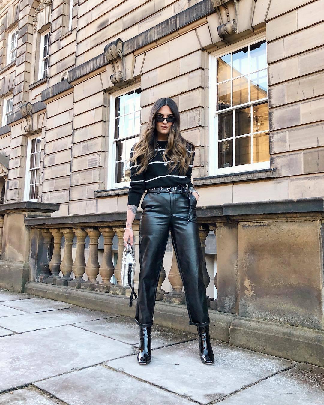 pants black leather pants straight pants black boots patent boots ankle boots black sweater stripes black sunglasses