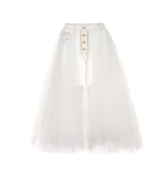 Unravel Denim and tulle skirt in white