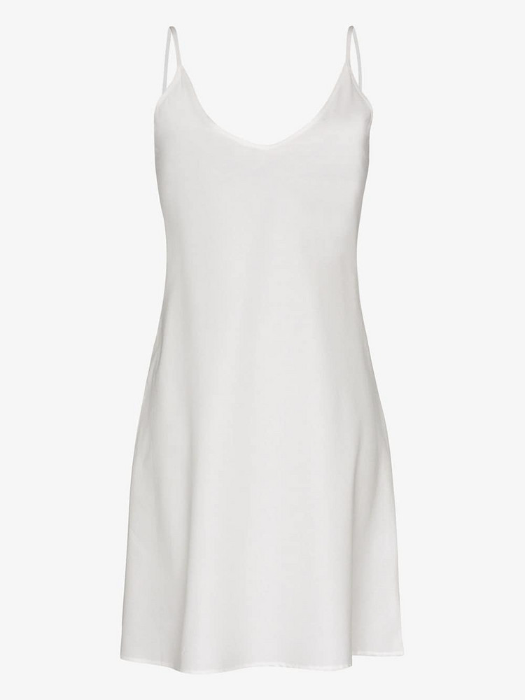 Pour Les Femmes Knee-length cotton slip nightdress in white