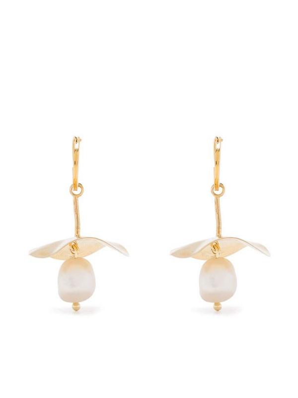 BONVO pearl pendant mini hoop earrings in gold